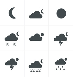 Set of night weather icons vector image
