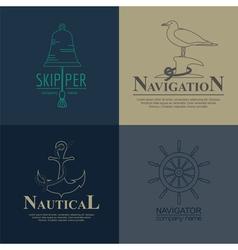 Set of sailing boat and nautical logos vector