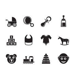 Silhouette baby and children icons vector image