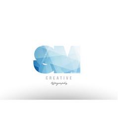 Sm s m blue polygonal alphabet letter logo icon vector
