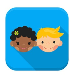 Smiling boy and girl faces app icon with long vector image