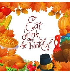 Template with Thanksgiving icons vector image