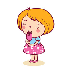 The little girl with pleasure eats ice-cream vector