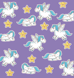 unicorn with wings star kawaii seamless pattern vector image