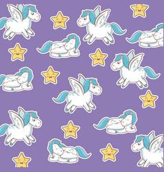 Unicorn with wings star kawaii seamless pattern vector