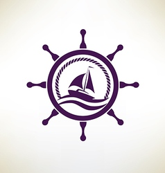 yacht symbol regatta and travel concept vector image vector image