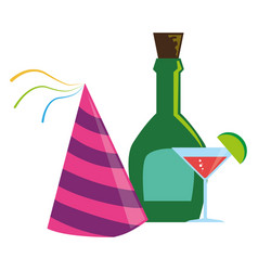 Color liqueur bottle and glass cocktail and party vector