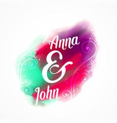 Wedding invitation card design with watercolor vector