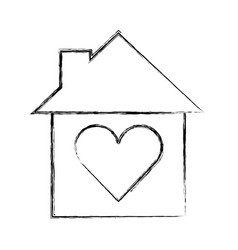 Cute house with heart exterior icon vector