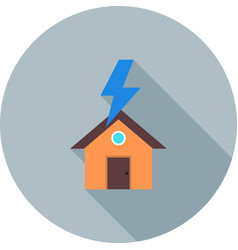 Lightning striking house vector