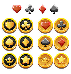 Set of gold icons and coins of vector