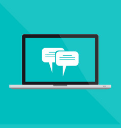 macbook pro flat laptop and a chat message vector image