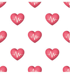 Red heart with pulsethe heart rate of the athlete vector