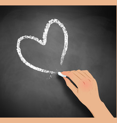 hand drawing heart with chalk vector image