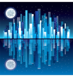 Night city panorama vector