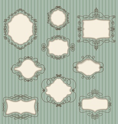 set doodle retro frames vector image