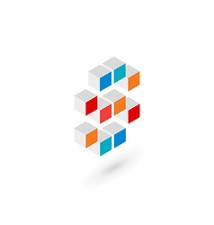 3d cube number 8 logo icon design template vector