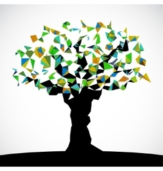 Abstract low poly colored tree vector