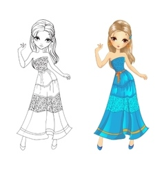 Coloring book of boho girl vector