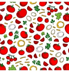 Seamless tomatoes vegetables and herbs pattern vector