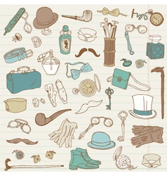 Gentlemens Accessories doodle collection vector image