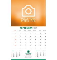 September 2017 wall monthly calendar for 2017 year vector