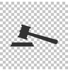 Justice hammer sign dark gray icon on transparent vector