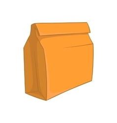 Paper bag with lunch icon cartoon style vector