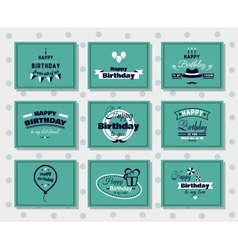 Happy birthday postcards set vector
