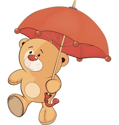 A bear cub and an umbrella vector image