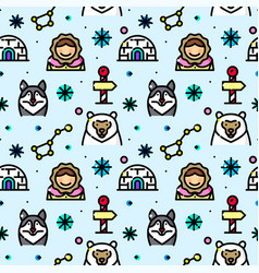 Arctic seamless pattern vector