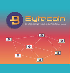 Background bytecoin blockchain style collection vector