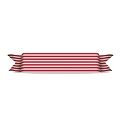 Banner ribbon with stripes white and red vector