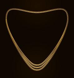 Beautiful golden chain of heart shape vector