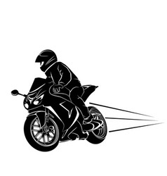biker on a sportbike vector image vector image
