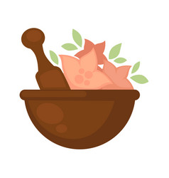 Brown bowl with thick stick and flowers for spa vector