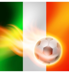 Burning football on ireland flag background vector