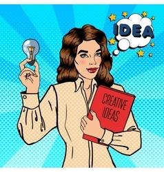Business Woman Holds a Light Bulb Pop Art vector image vector image