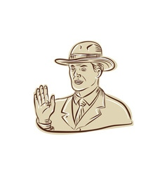 Businessman fedora hat vintage etching vector
