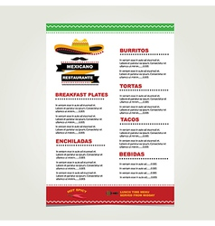 Cafe menu mexican template design vector