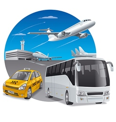 Car and bus in airport vector