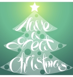 Christmas lettering tree vector