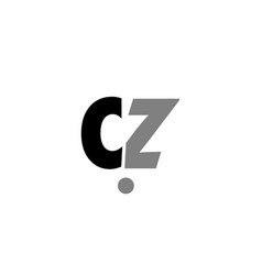 cz c z black white grey alphabet letter logo icon vector image vector image