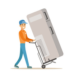 Delivery service worker with large fridge on cart vector
