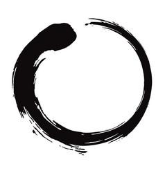 Enso zen circle brush black ink vector