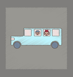 flat shading style icon school bus vector image vector image