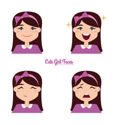 Girl expression faces vector