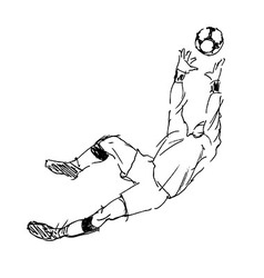 Hand sketch soccer goalkeeper vector