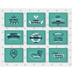 Happy birthday postcards set vector