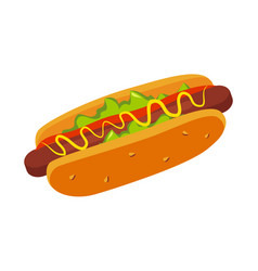 Hor dog in bun with mustard street fast food cafe vector